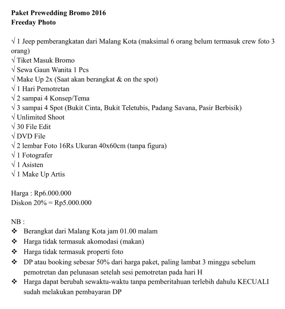 Paket Prewedding Bromo 2016-1